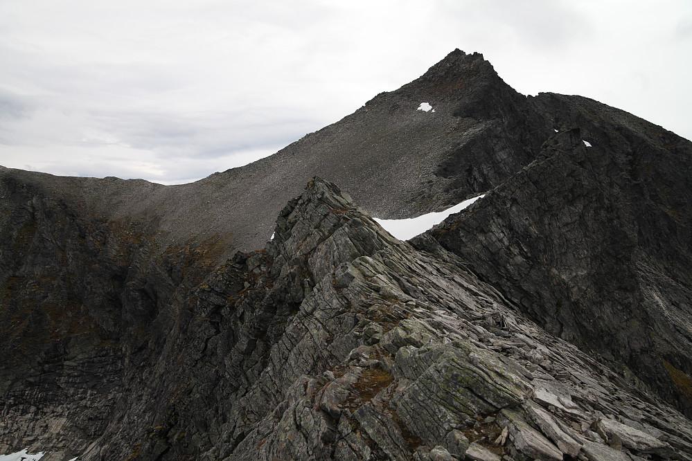 Regndalstind sett fra ryggen vest for toppen