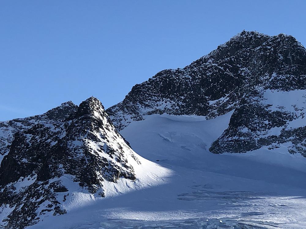 Nordre Hellstugubreahesten, med en av de andre på toppen