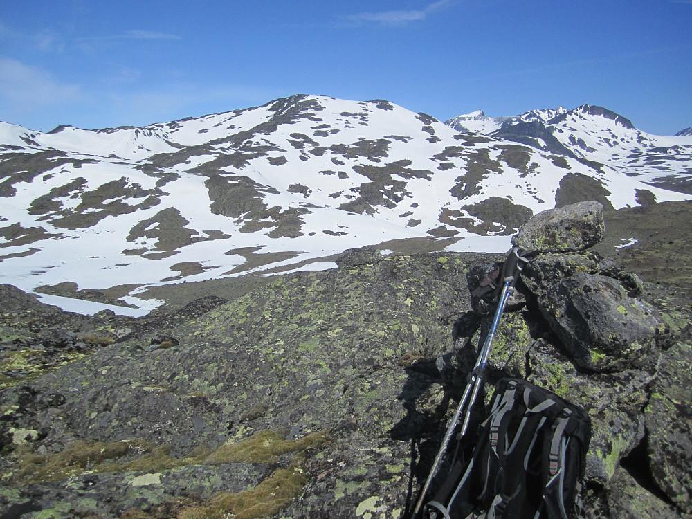 3:15 hadde jeg brukt til toppen av Høgtunga. Skulle jeg ventet på båten til Gjendebu, hadde jeg vært framme ved Gjendebu først nå! Ser mot Storådalshøe, et par km mot NV.