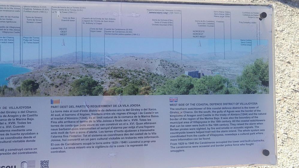 En av info-plakatene på toppen.