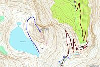 De to letteste rutene; normalveien (nordeggen) i blått, og søreggen i rosa.