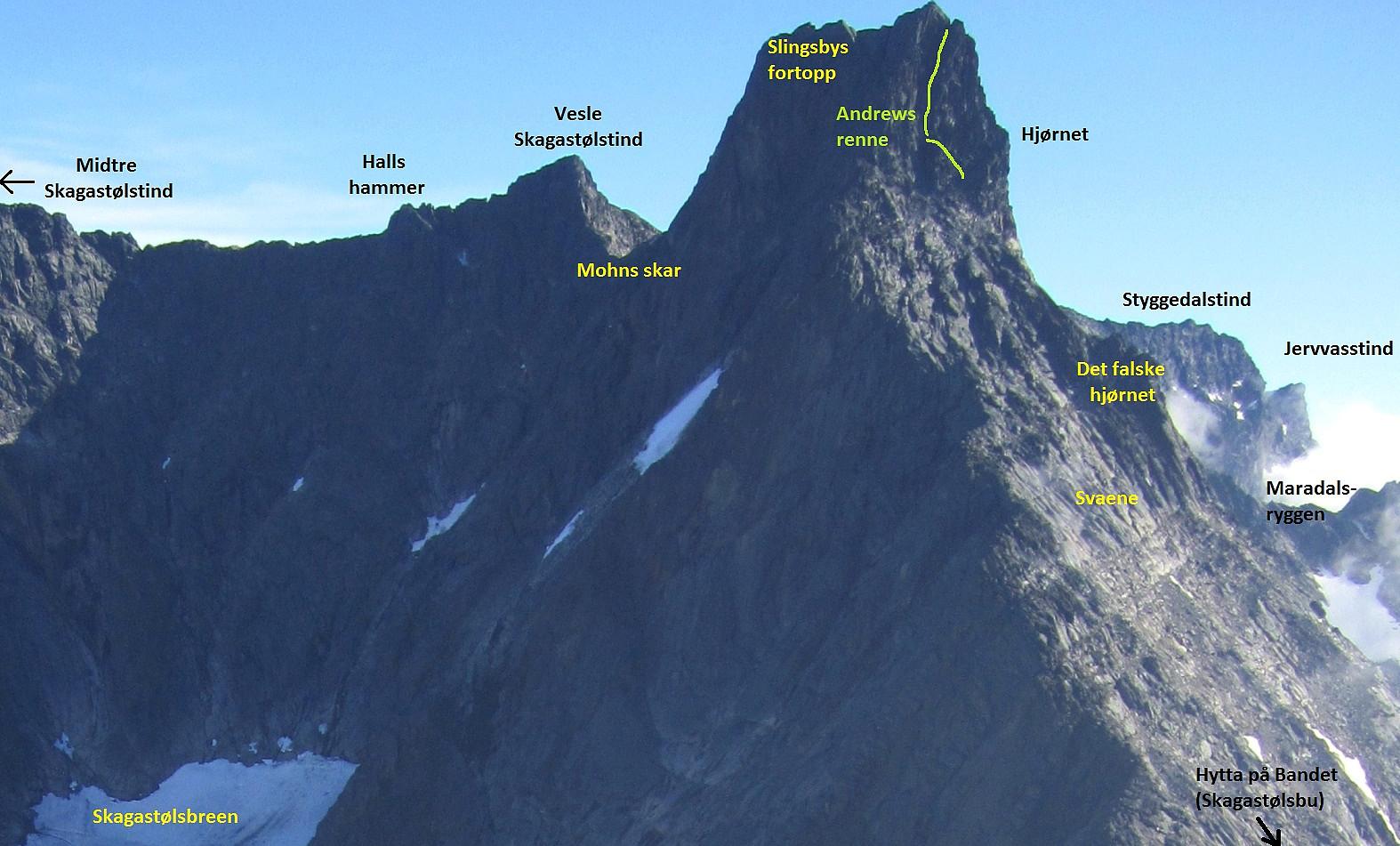 store skagastølstind kart Storen   svaene i sørflanken (2200 m) • Peakbook store skagastølstind kart