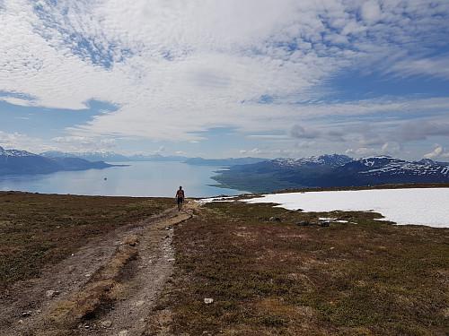 Hans Thorvald på vei opp til Strandheia