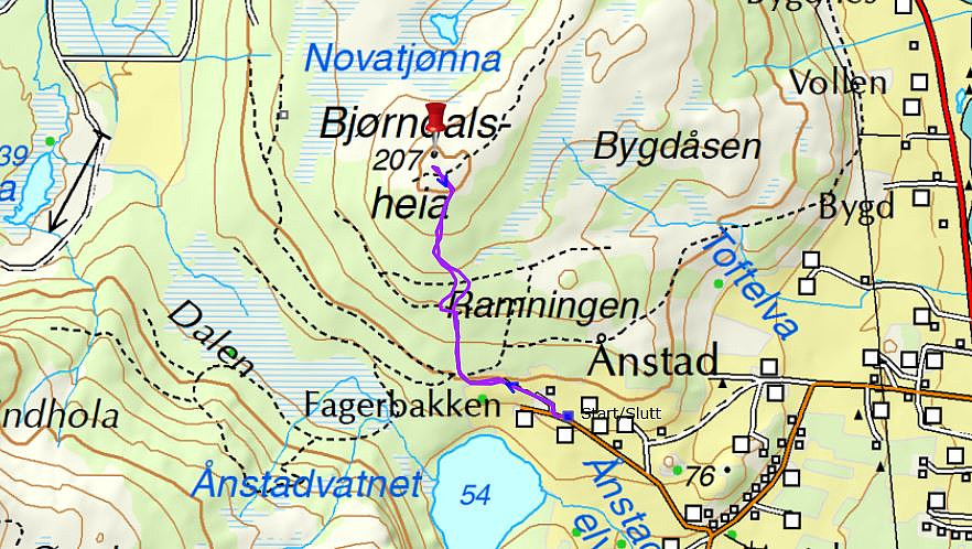 Bjørndalsheia: 43 min - 2,2 km