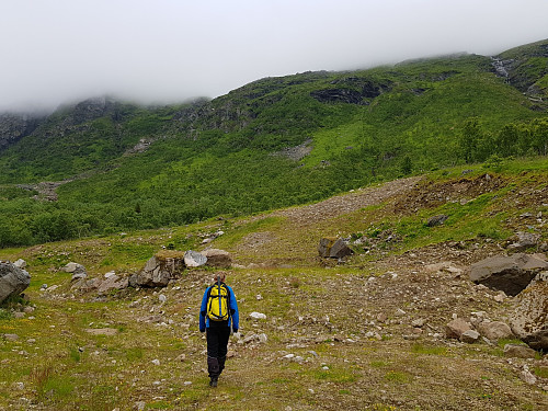 Ingen fjelltopper å se på starten av turen