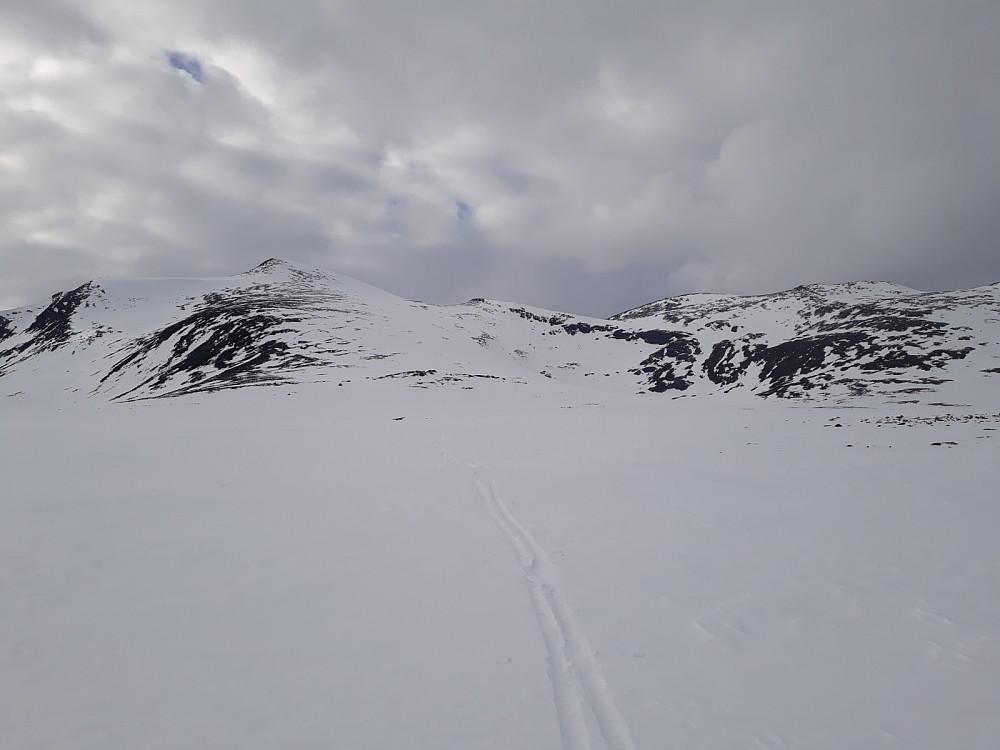 Jeg kjørte ned på snøfeltet midt i bildet.  Stornubben litt til venstre for sentrum i bildet|