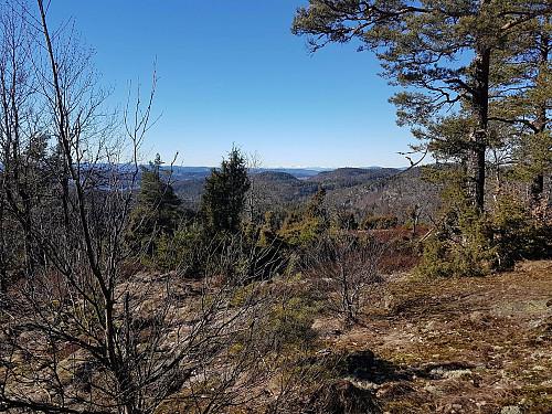 Utsikt fra toppen med Lifjell i det fjerne.