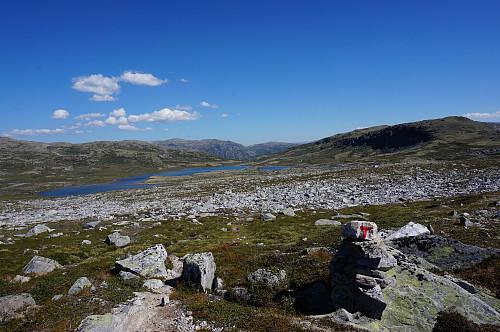 Vi fulgte turistlinja fra Vangshaugen mot Raubergshytta.