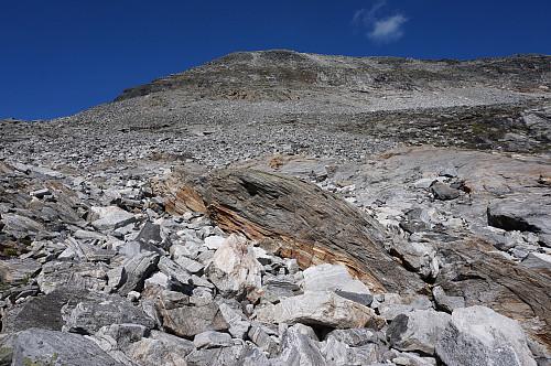 Steinrøys her måtte vi bruke lang tid på grunn av Tundra som er nesten blind.