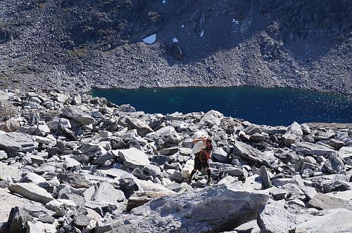 Egil hjelper Tundra over den værste steinrøysa.