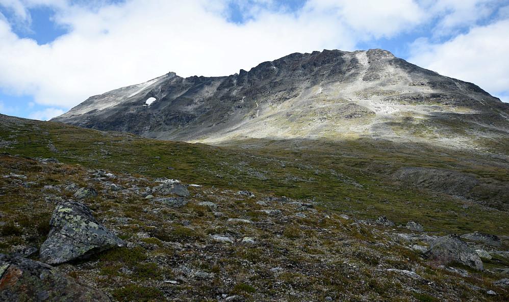Her ser vi mot Søre Bukkeholstinden og vi gjekk opp omtrent rett på der den lyse grusen er.