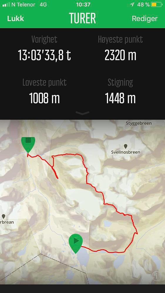 Ruta vår med start på Leirvassbu og mål ved Geitsætre.