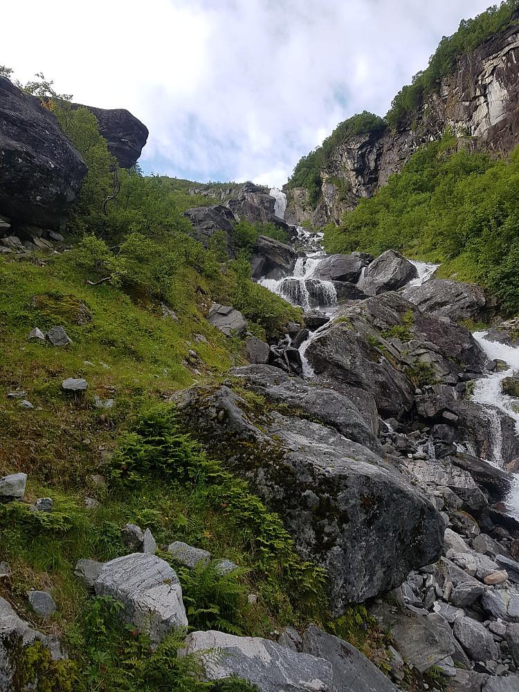 Her ser det idyllisk nok ut, men elva kunne bare følges i 50 meter før det bar inn i tett kratt og kampesteinvirrvarr igjen.