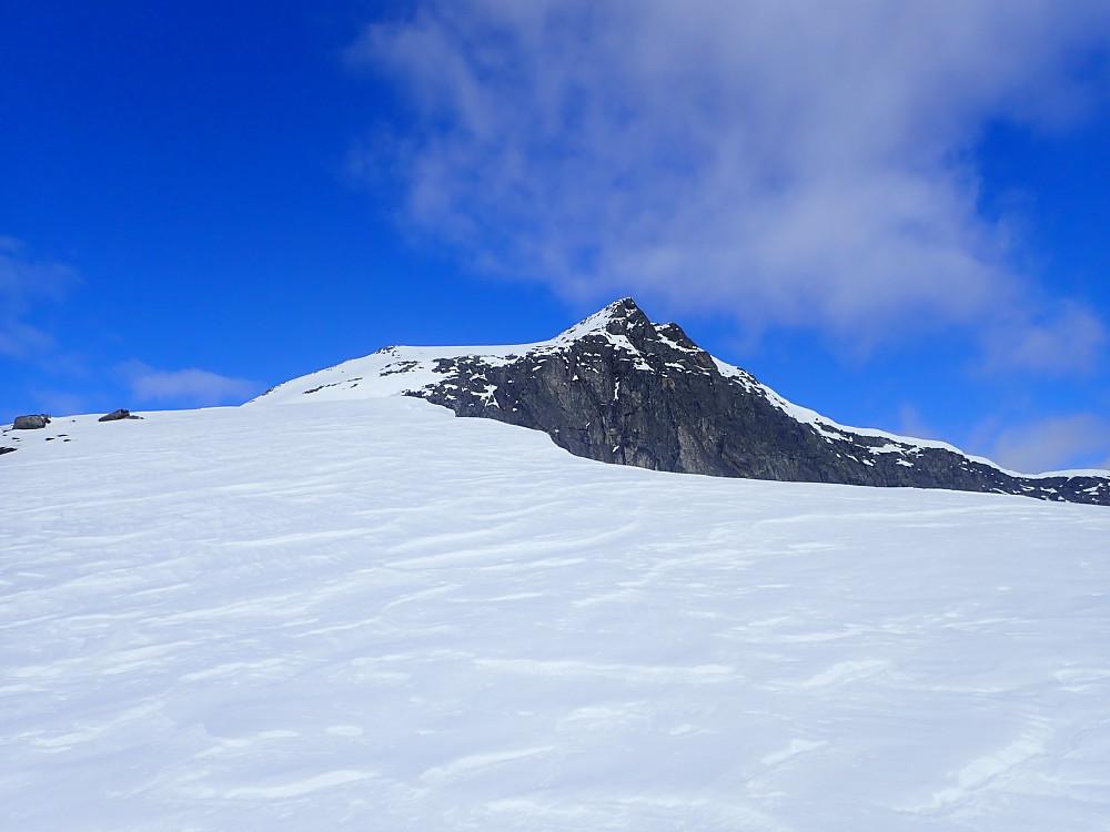 Opp til Lianibba var det fint å gå på ski, men et par harde litt brattere parti gjorde at jeg tok på skarejern. (Når jeg er alene på tur langt unna folk, blir skarejern og stegjern brukt betydelig hyppigere enn ellers for å ha ekstra margin.)