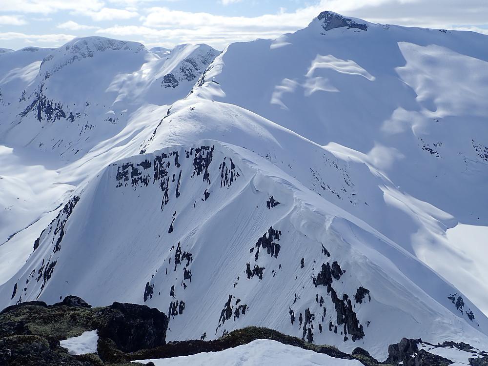 Fra Klovningsnibba mot Lianibba. Klovningsnibba har en haug med nedkjøringsalternativer for de som liker litt bratt skikjøring, med minst tre kjørbare renner i sørsida, den fine Saudalen mot øst og et par skjermede muligheter også mot nord.