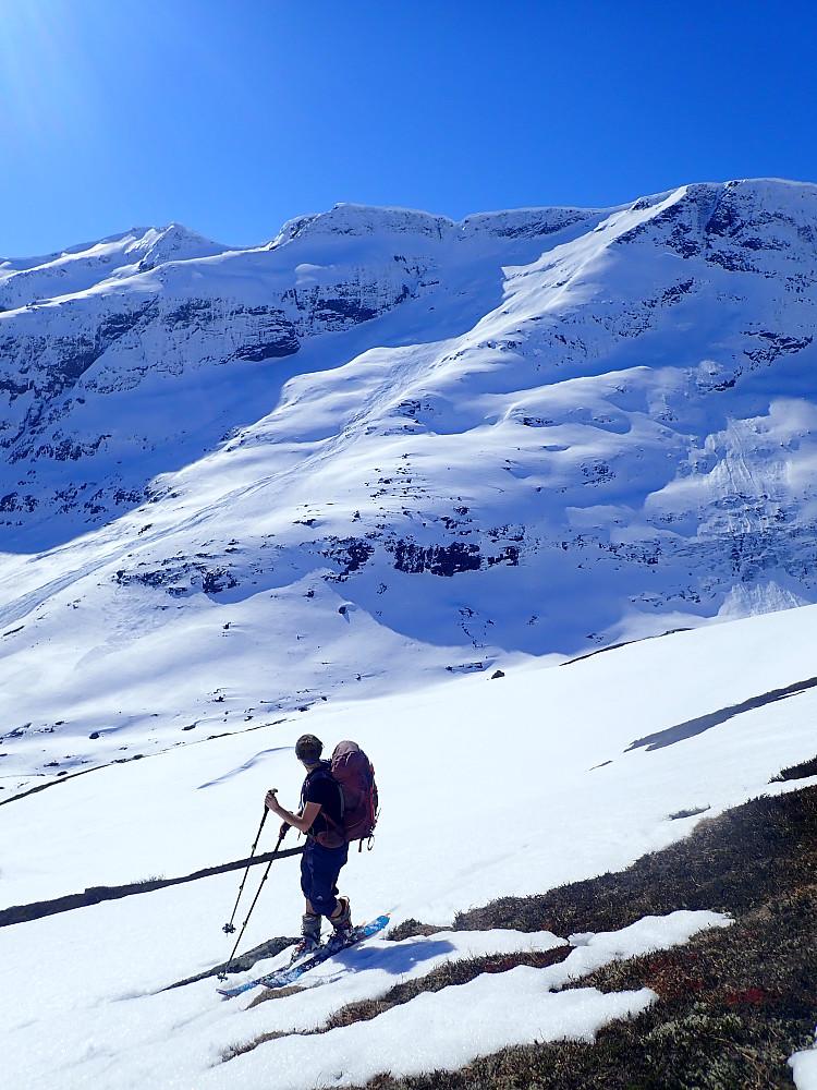 Anja forklarer at østsida fra Sætredalsfjellet ser ut som bra skiterreng. På riktig dag og føre. Jeg kan ikke annet enn å si meg enig.