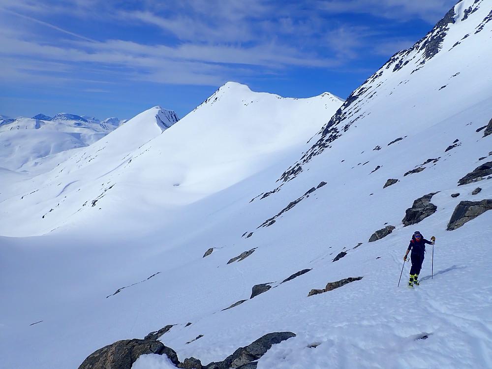 Fra Illstigfjellet Vest fikk vi ei litt bratt nedkjøring på noen hundre høydemeter før vi holdt høyde inn i sørsida av Illstigfjellet. Herfra var det greit å gå på ski til toppen av Illstigfjellet.