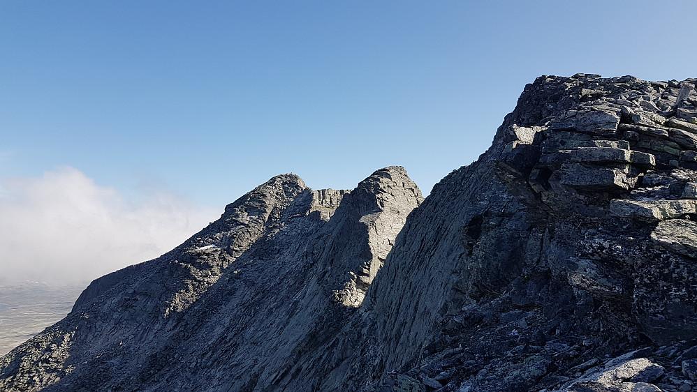 """Snøhetta Midttoppen, Hettpiggen og Vesttoppen fra """"baksida"""" rett før toppen Vesttoppen. Vi brukte 2t og 50minutter fra Snøheim til toppen"""