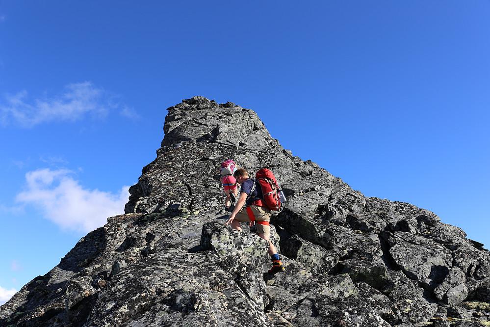 Siste motbakken opp til toppen av Store Bukkeholstind. Tørt og fint klyvefjell, veldig kurant på en dag som dette.