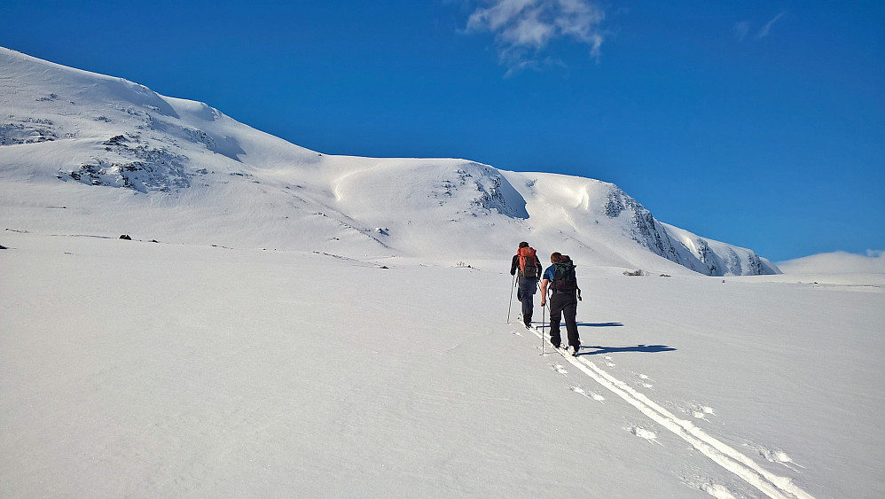 Torleiv og Jan Petter på vei mot Skirifjellet, dagens første. Vi gjekk opp Sandløyfta.