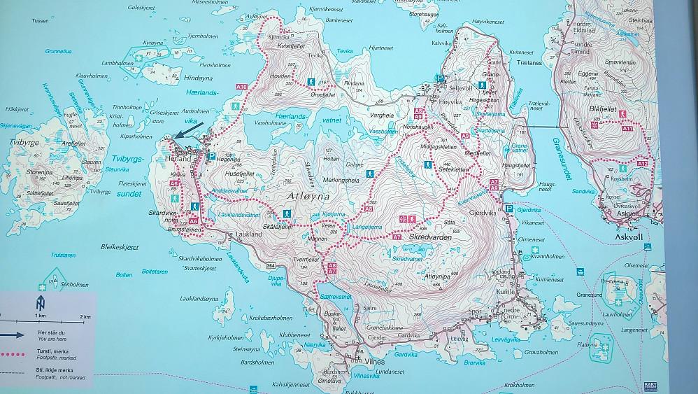 Turkart med ruter på Atløyna