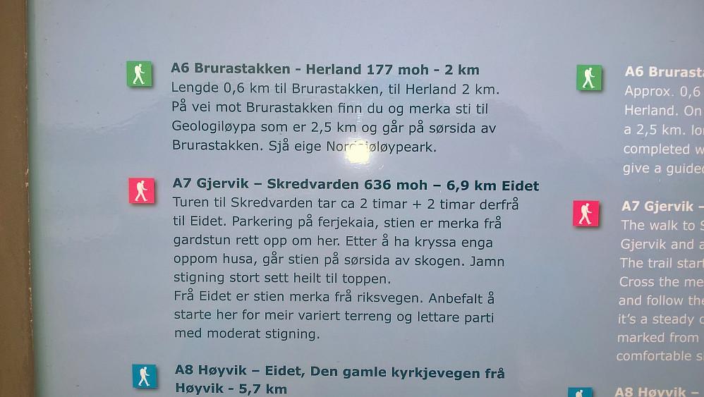 Fleire ruter går til Skredvaren. Frå Eidet virkar som den finaste. Det var og flott å gå frå Herland over Skålefjell. Gode merka stiar.