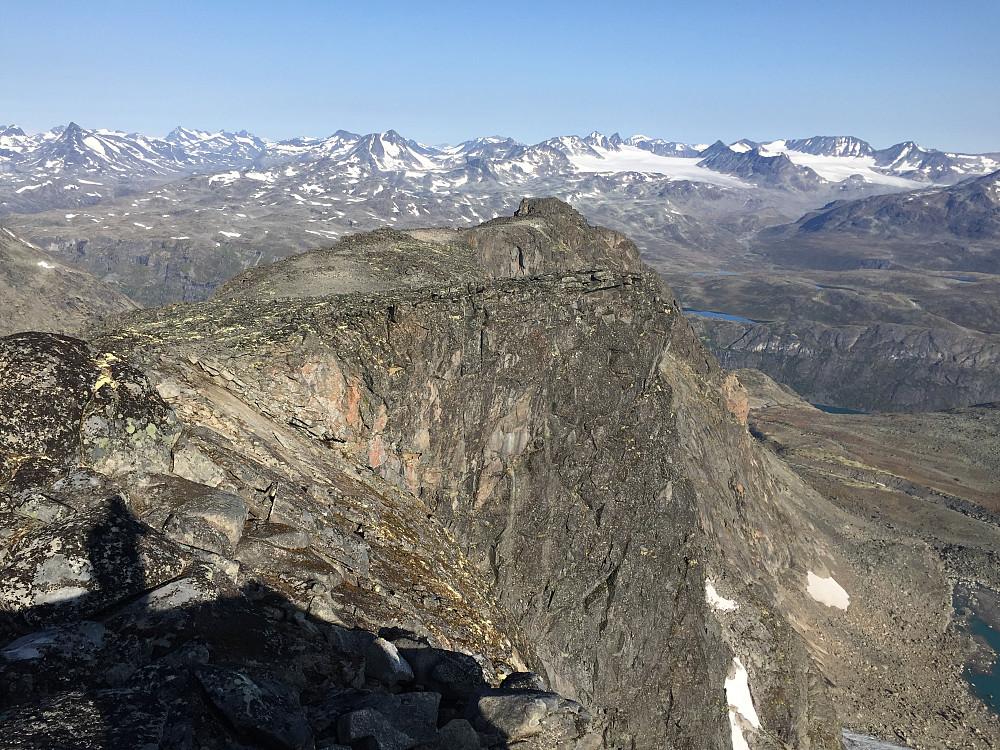 Ryggen nedover mot nordtoppen og resten av Jotunheimen langt der borte.