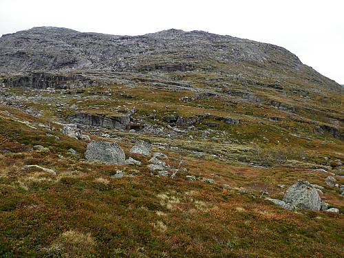Bratt nordvent fjellrygg opp frå Skrøådalen.