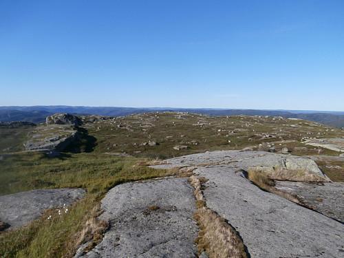 Utsikt nordover mot det litt lågare trigpunktet.