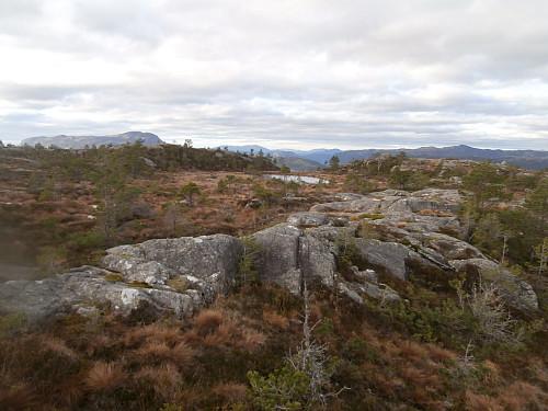 Oppe på sørausttoppen på Åsaheia. 544-toppen ses t.v med Gunlanuten i bakgrunnen.