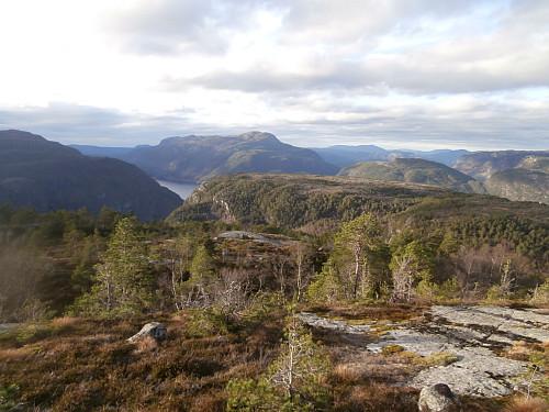 Nordvest mot den skogkledte Reppaheia og Gunlanuten bak.