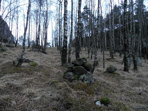 Fleire småvarder aust for Våmulen. Kanskje eit gammalt kulturminne.