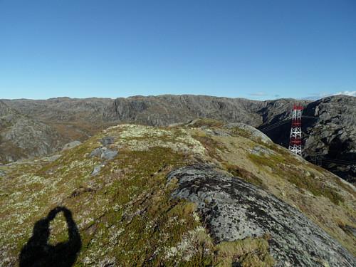 På 910-toppen sør for Futevatnet med Oddaheia i bakgrunnen.