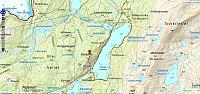 Omtrentleg rute til Storkollen. 2,5km – 1t 31min – 184hm