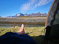 Teltplassen ved Finnbyen nedunder Volandstinden