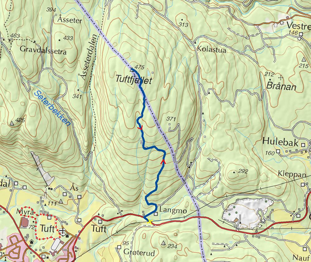 17.08.2015 - Den tykke, blå streken er ruta vi gikk. Gult kryss markerer hvor bilen sto parkert. (Kartkilde: www.norgeskart.no)