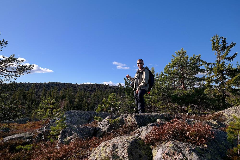 Fra returen ser vi tilbake mot Sveinsbuvarden (746), som er høyeste punkt i bakgrunnen til venstre.