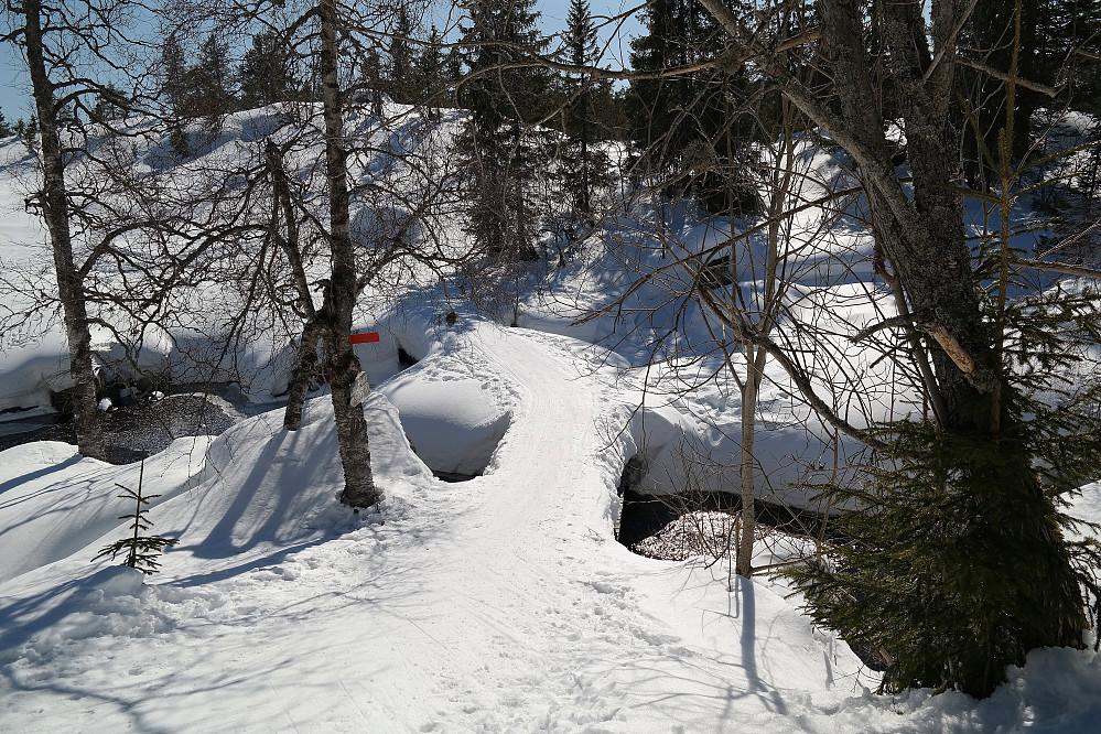 Her går skiløypa over Støleelva, få meter nedenfor demningen på Vesle Stølevann. Smalt over her, og kjipt å kjøre ut av løypa.