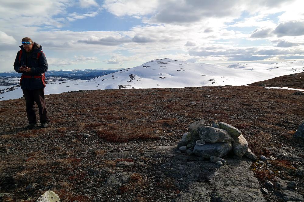 På toppen av Meitebekkfjellet (1241), hvor vi ser Nystølvarden (1295) i bakgrunnen.