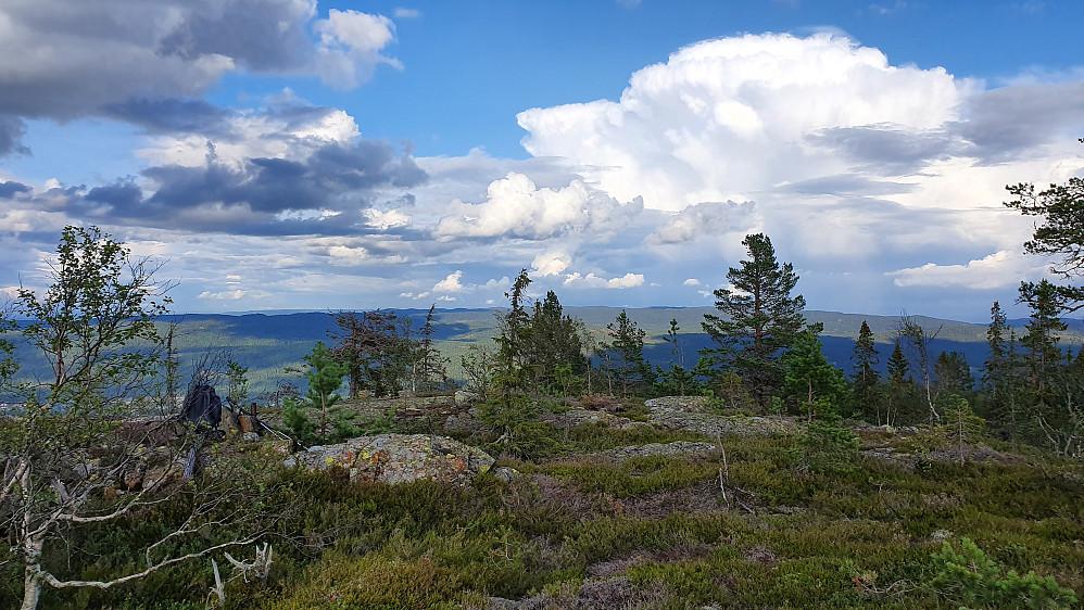Østover sett fra toppen av Åslandåsen (680). Tordendrønn kunne høres i det fjerne fra den høye bygeskyen til høyre i bildet.