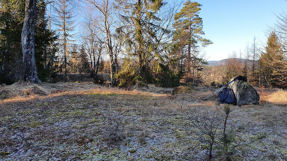 På Buktåsen Sør (260). Det tynne snødrysset på bakken er etter noen snøbyger som gikk over Østlandet dagen før.