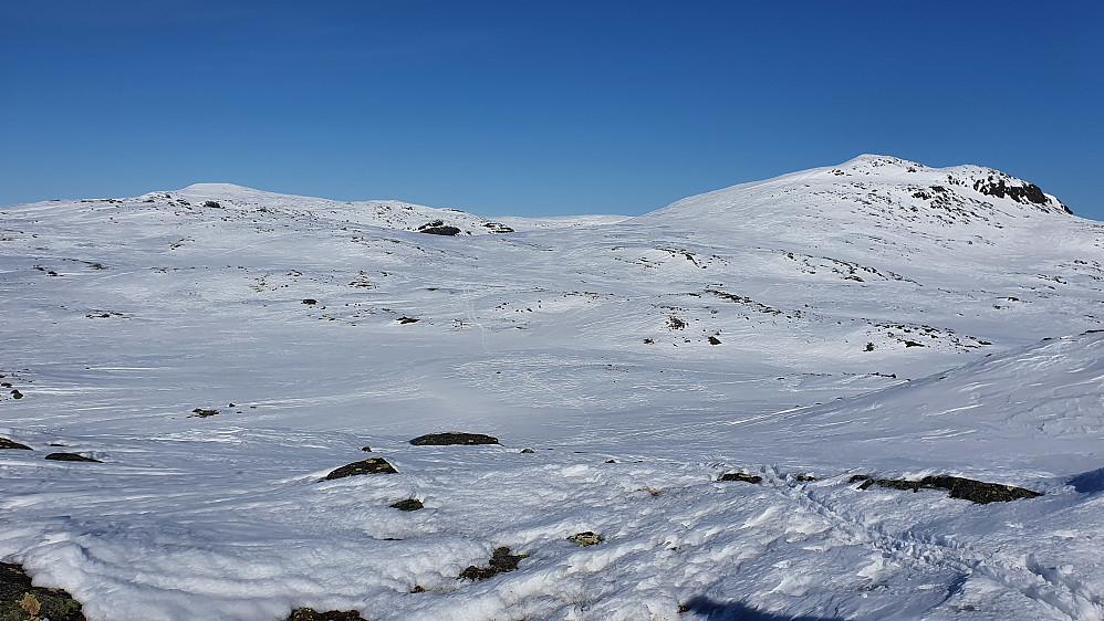 Vi er på dagens siste topp, Breinosi Vest (1533). Bak til høyre er høyeste Breinosi (1641). Langt bak og til venstre ses Vesle Jukleeggi (1701).
