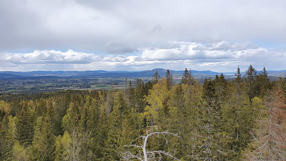 Utsikt mot nordvest fra tårnet på Vardehøgda.