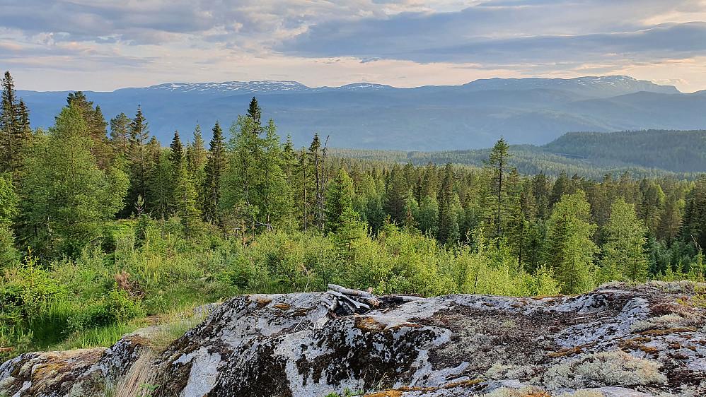 På et område med bart fjell i Gvitåslie, var det nydelig utsikt retning vestover, som her mot Blefjell. I forgrunnen er rester av et bål.