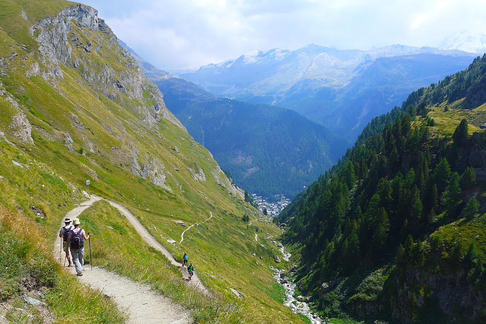 Views back down to Zermatt from ca. 2200m