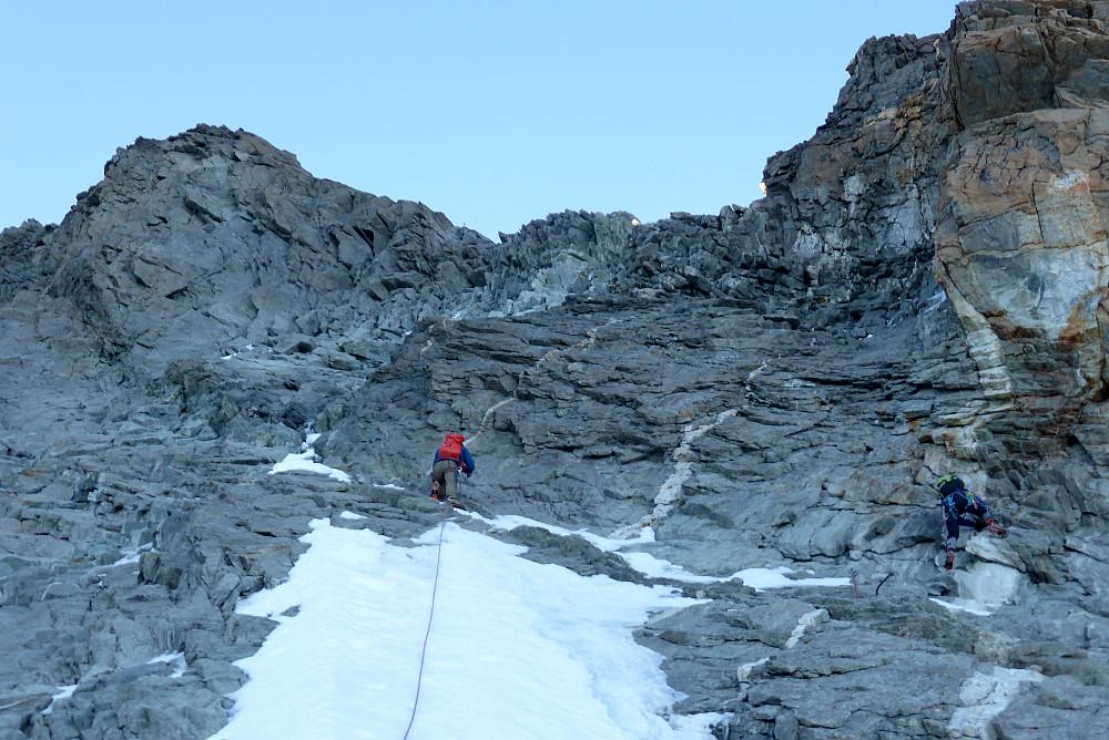 Climbing back towards the ridge