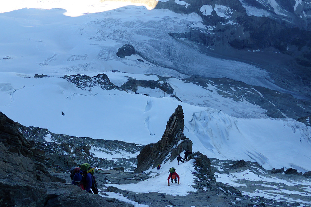 Other climbers on the way up the gully