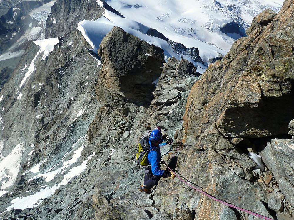 Downclimbing (taken by Graham)