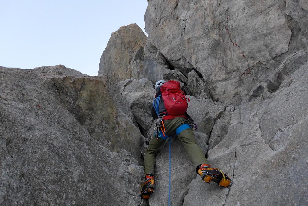 Scrambling in crampons on dry rock!