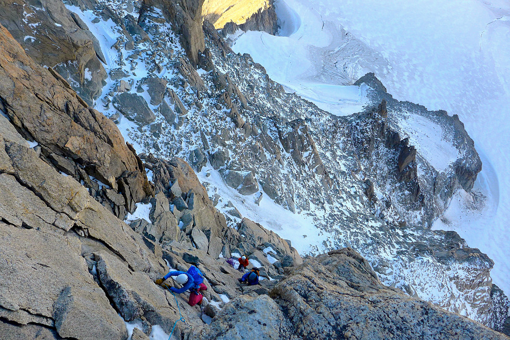 Climbers coming up to the platform below the Burgener slabs